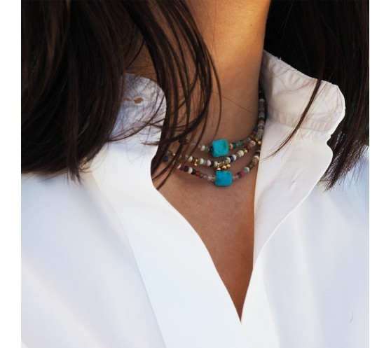 EARTH - COLLIER MELANGE D'AGATHES ET...