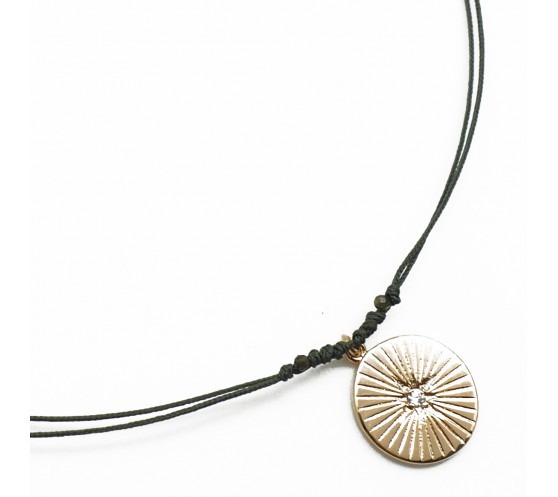 BARE CORD - COLLIER MEDAILLE RAYONS...