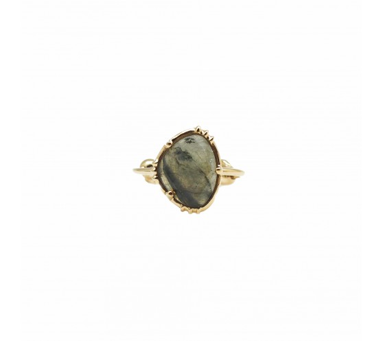 BAGUE OVALE GRAND MODELE LABRADORITE