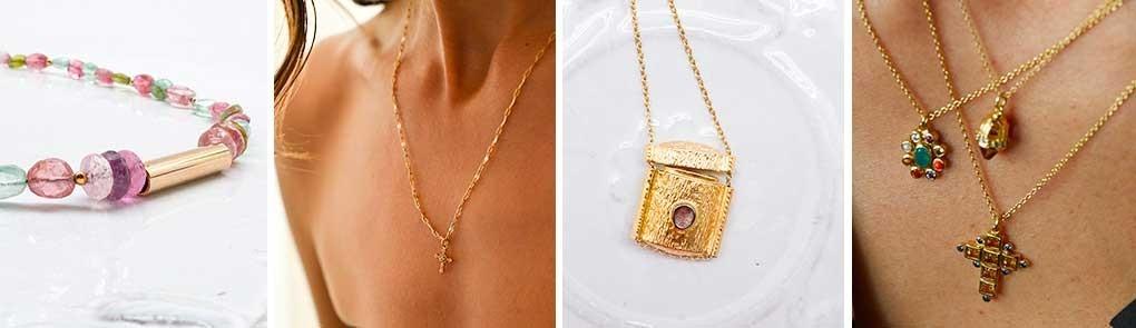 Collier plaqué or & pierres semi précieuses pour femme | By Johanne