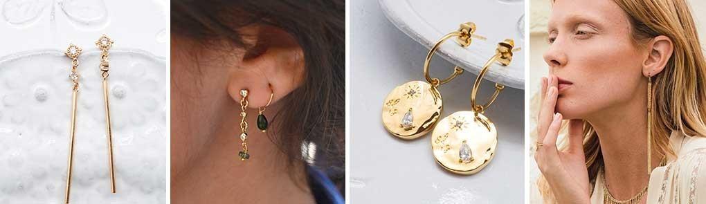 Boucles d'oreilles plaquées or & pierres semi-précieuses | By Johanne