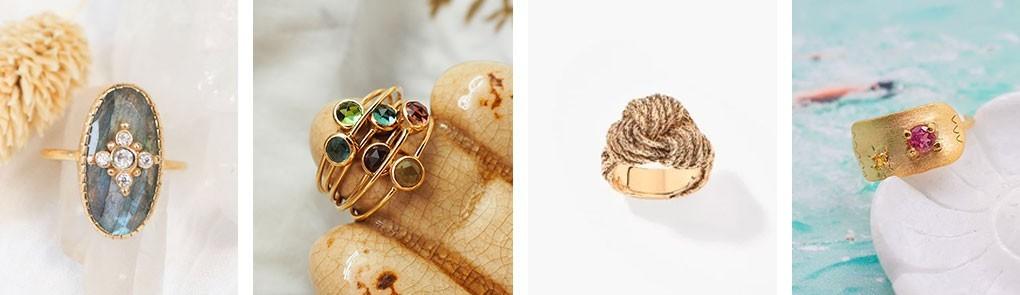 Bague plaqué or & pierres semi précieuses pour femme | By Johanne