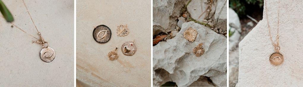 Médailles et pendentifs plaqués or et pierre semi-précieuses | By Johanne